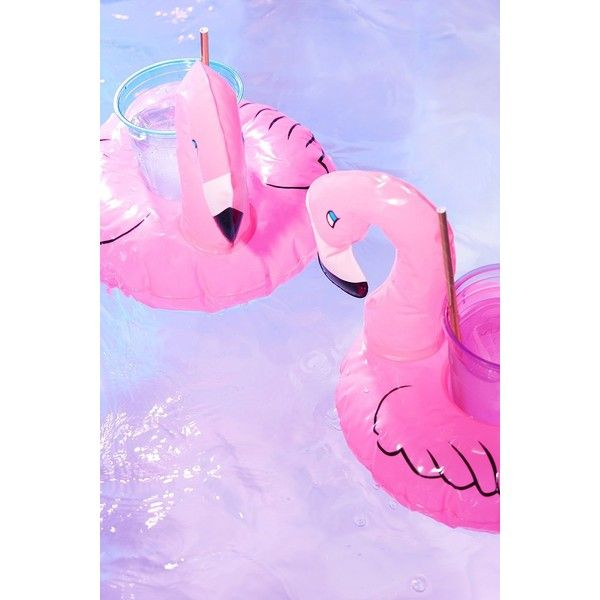 Flamingo Drink Holder Pool Float Set ($12) ❤ liked on Polyvore featuring home, home decor, small item storage, twin pack, urban outfitters and flamingo home decor