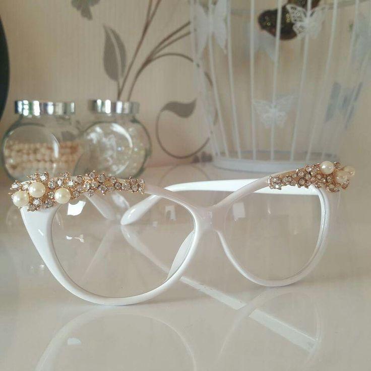 Trendy white glasses.