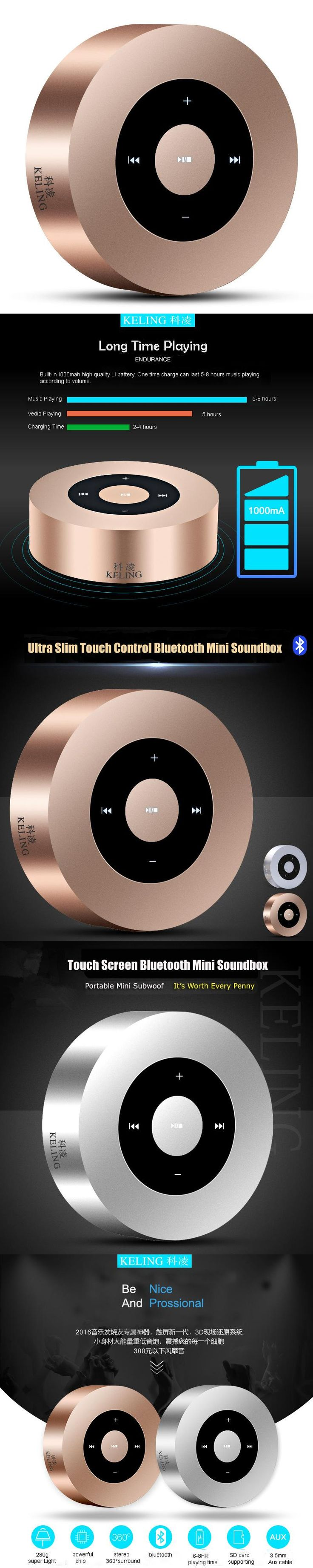 A8 Portable Mini Bluetooth Wireless Speaker MP3 Player Support Hands Free Call Micro SD Card With Metal Case Passive Radiator