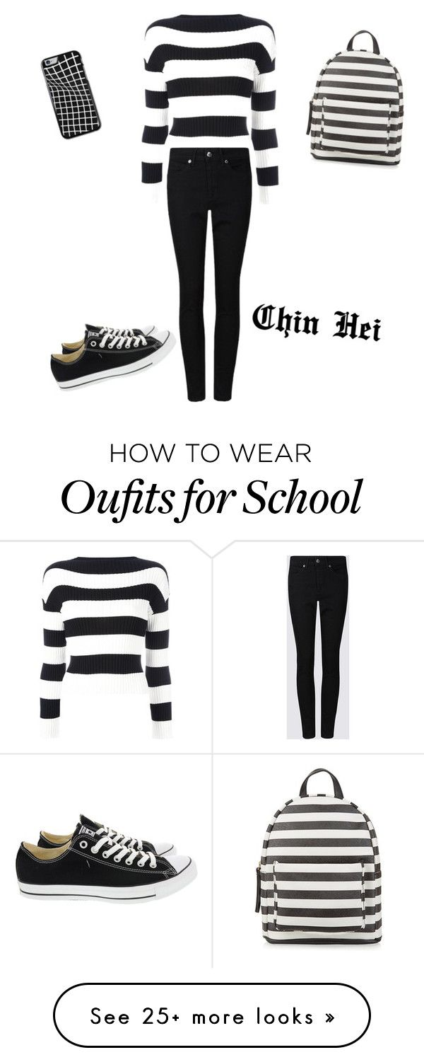 """School"" by kpop-lover97 on Polyvore featuring Boutique Moschino, Converse and New Look"