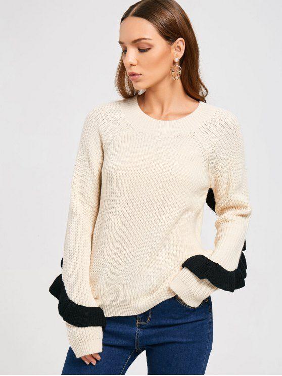Ruffles Back Half Zip Sweater - OFF-WHITE ONE SIZE