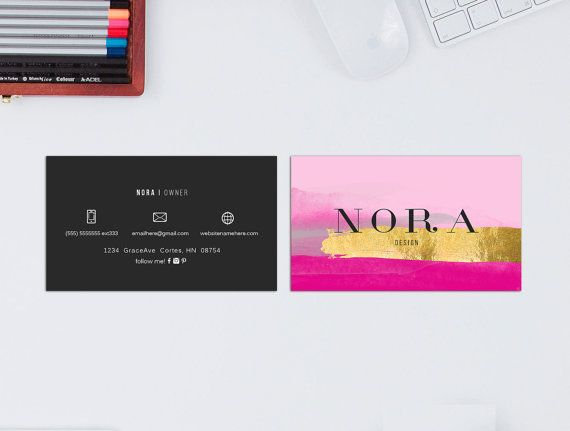 Nora double sided business card  Instant download by deideigraphic