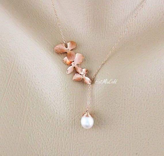 Utterly lovvvveeee this!! Rose Gold orchid Necklace pink Orchid and pearl by hotmixcold, $37.00