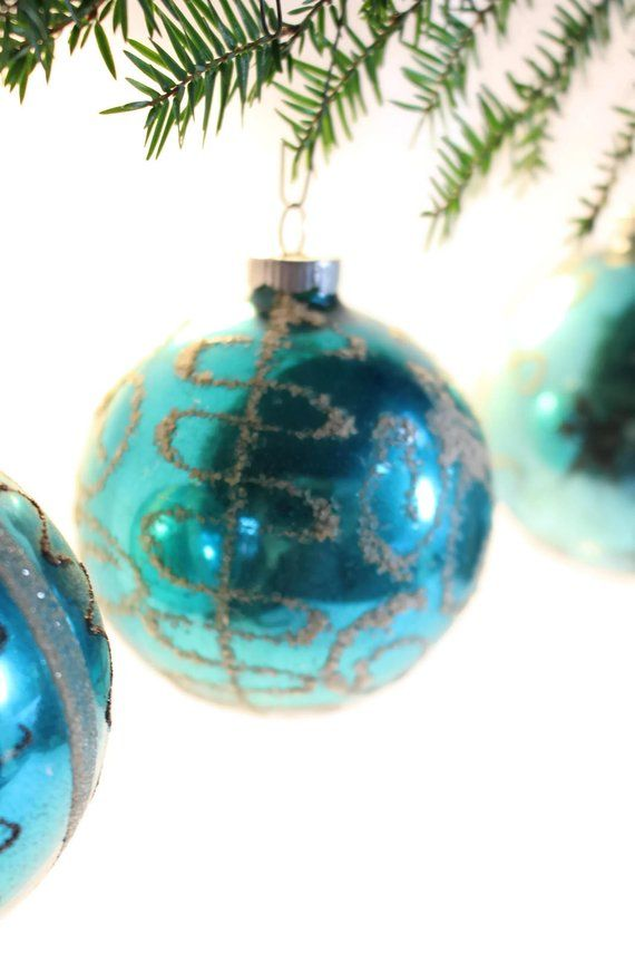 Sale 3 West Germany Blue Christmas Ornaments Set Of 4 Etsy