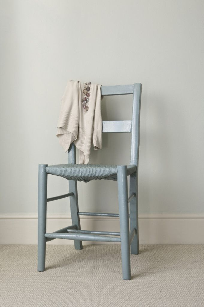 Wall painted in Pale Powder Estate Emulsion, chair painted in Oval Room Blue Full Gloss, both from Farrow & Ball.