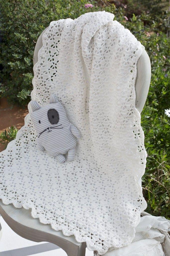 plaid pour bébé au crochet en fils Natura Just Cotton