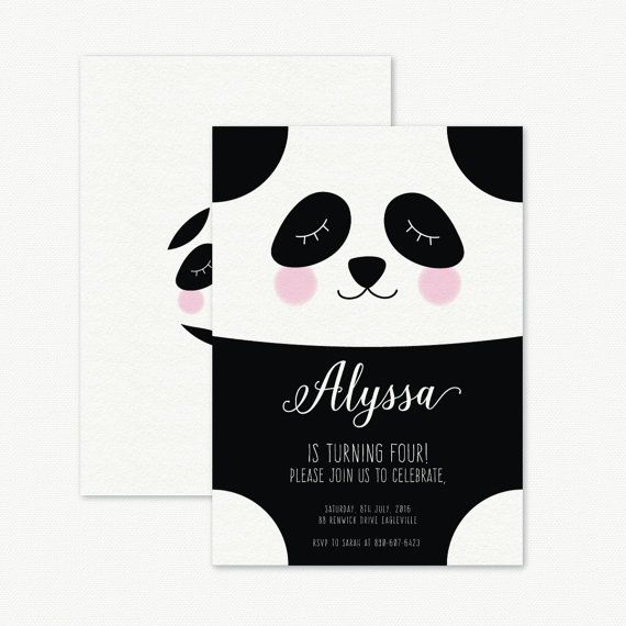 Panda Birthday Party Invitation Kids birthday by PaperBoundLove