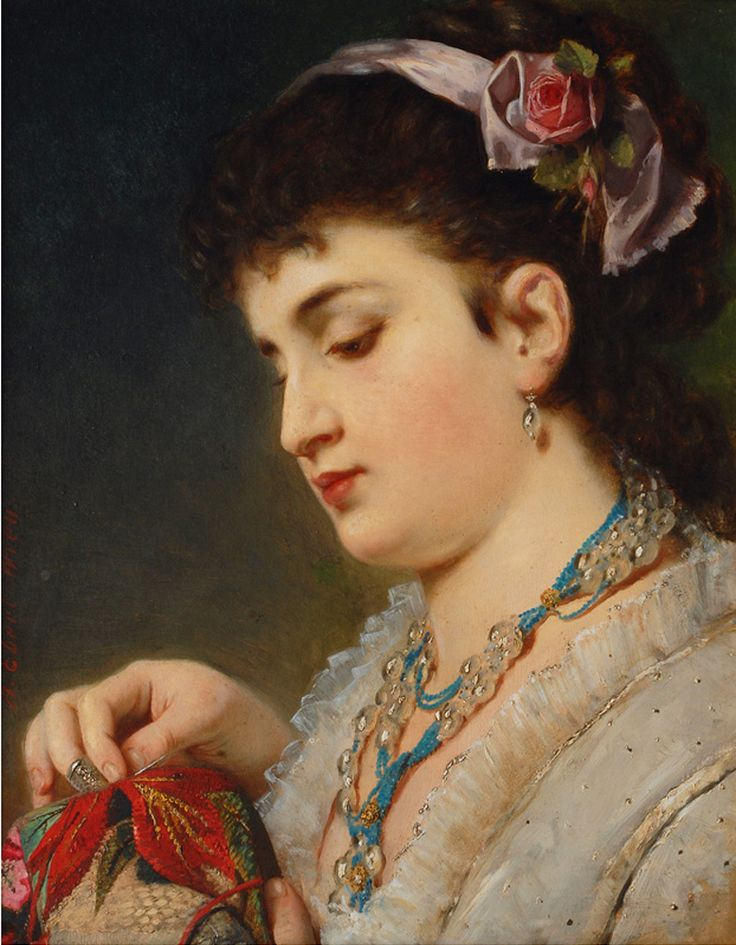 Anton Ebert-Young-Lady doing needlework