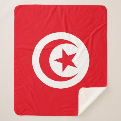 #Tunisia Flag Sherpa Blanket - #country gifts style diy gift ideas