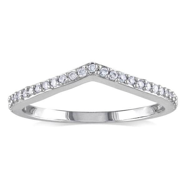 Miadora 14k White Gold 1/6ct TDW Curved Diamond Wedding Ring ($344) ❤ liked on Polyvore featuring jewelry, rings, diamond band ring, white diamond ring, diamond rings, 14k white gold ring and wide-band diamond rings