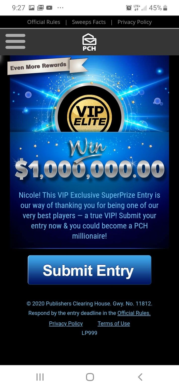 PCH EXCLUSIVE SUPERPRIZE ENTRY in 2020 Online