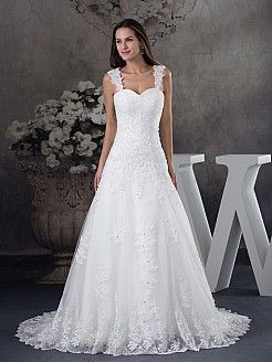 Appliqued Strap Princess Wedding Gown with Lace Overlay - AUD AU$311.66