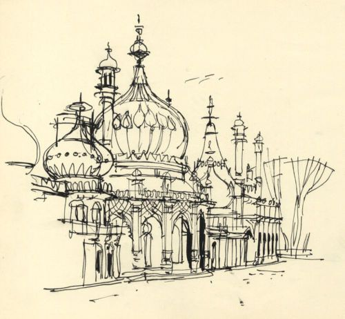 Paul Sharp 1962 Pen and Ink Drawing Brighton Pavilion