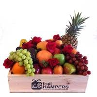 Red Roses Fruit Hamper http://www.igiftfruithampers.com.au/valentines-day-gifts #valentinesgift #valentinesday #valentineshamper #fruithamper #fruitbasket