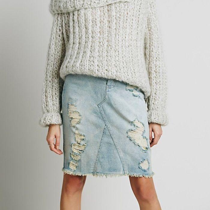 Rank & Style - Free People LA Lady Denim Skirt #rankandstyle