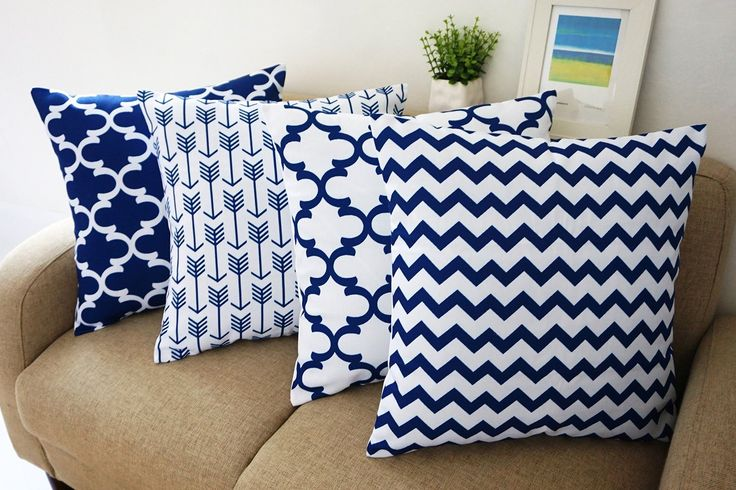 "Amazon.com - Howarmer® Blue and White Square Cotton Canvas Decorative Throw Pillows Set of 4 Accent Pattern - Navy Blue Quatrefoil, Navy Blue Arrow, Chevron Cover Set 18""x 18"" -"