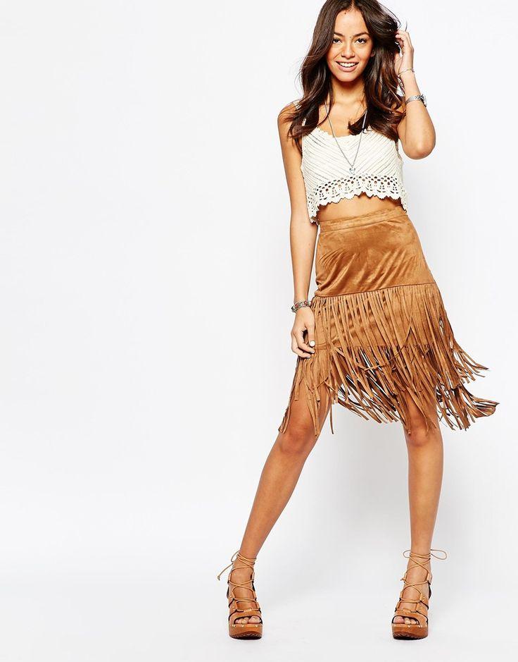 New Look Suedette Fringe Skirt