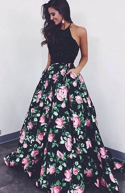 Halter Prom Dress,Sexy Prom Dress,Printed Prom Dress,Mermaid Prom Dress,ball gown prom dress, fashion flower print party dress