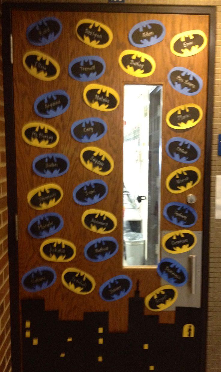 Amazing Batman themed classroom door.  Students names are written on the bats.