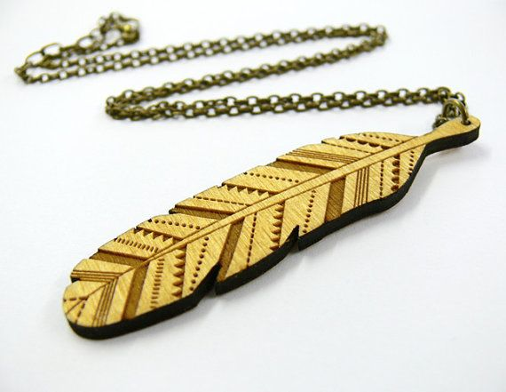 Wooden Feather Necklace by laylaamber on Etsy, £14.00