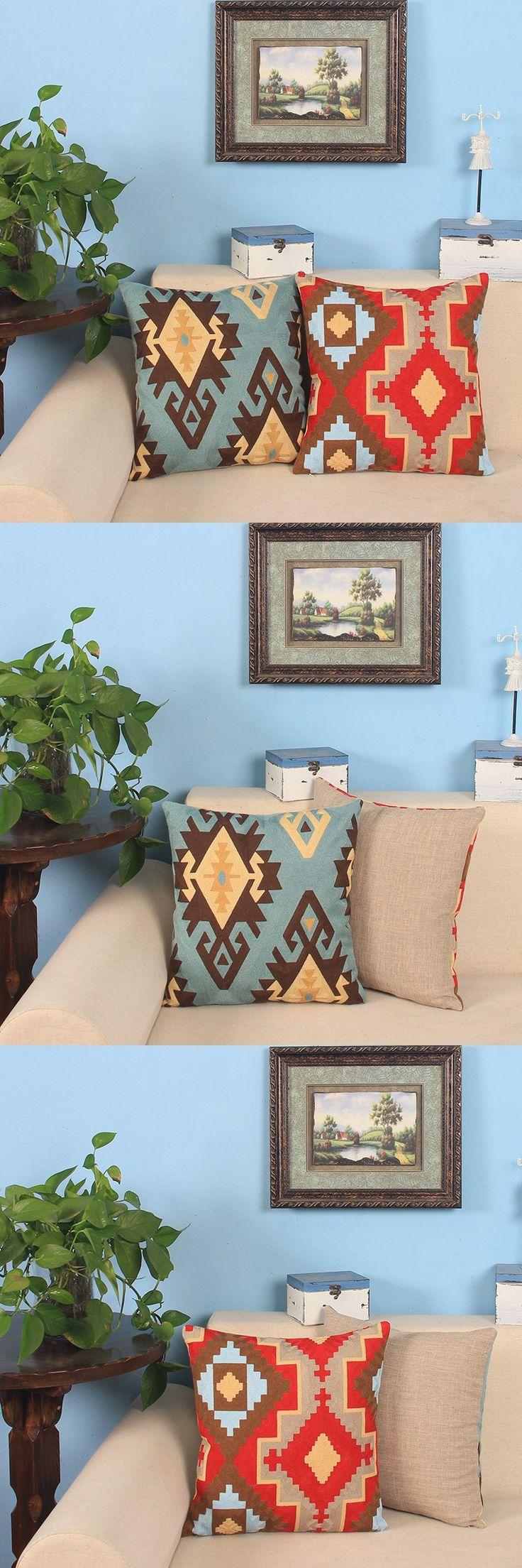 Cotton/Linen Embroidery Throw Cushions Cover Sofa Scandinavian Pillow Case Home Decorative Geometric Pillow Shell Cushion Sham $27