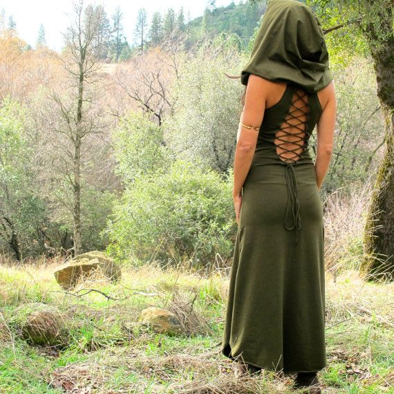 Nienna Hood Dress  Lace Up Open Back  Elven Sexy by ZhenNymph, $100.00