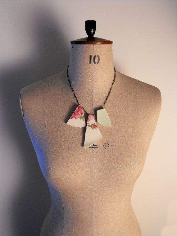 Three Piece Pink and Mint Green Floral Broken by VioletJewelleryCo