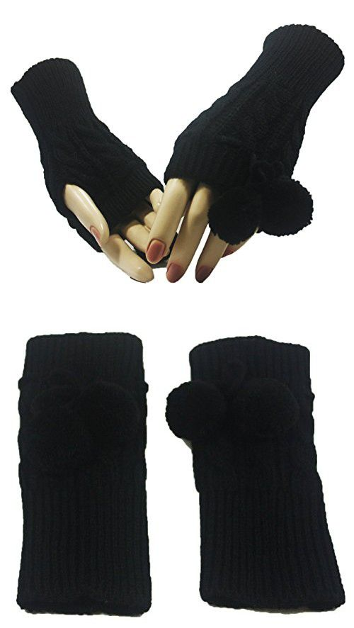 Black Legend Poms Arm Warmer Gloves