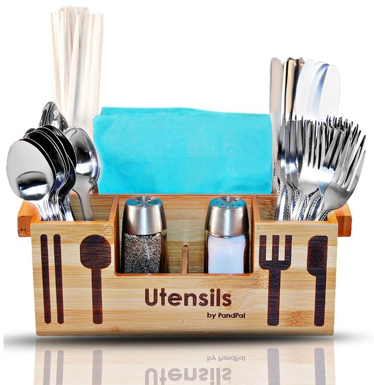 Amazon.com: Bamboo Wooden Utensil Caddy Flatware Holder for Spoons, Knives, Forks, Chopsticks, Salt & Pepper Shakers, Chopsticks, Napkins, Condiments, Spices, 7 Compartment, Silverware Organizer Home, Restaurant: Home & Kitchen
