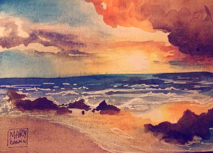 """""""minha primeira paisagem decente! pq sério, estava treinando muito ai pah... saiu! vamo que vamo!   #watercolor #beach #sunset #art #illustration"""""""