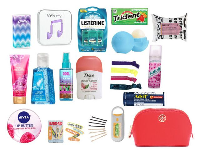 Emergency Kit For School! Comment Your Essentials! by xaspyynx on Polyvore featuring Glam Bands, J.Crew, ban.do, Eos, Korres, Tory Burch, Batiste and Nivea