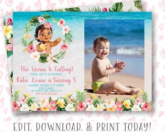 baby moana invitation instant download