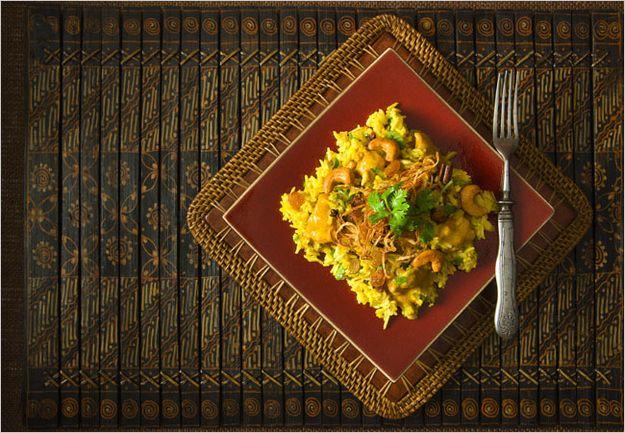 Rice Cooker Chicken Biriyani With Saffron Cream