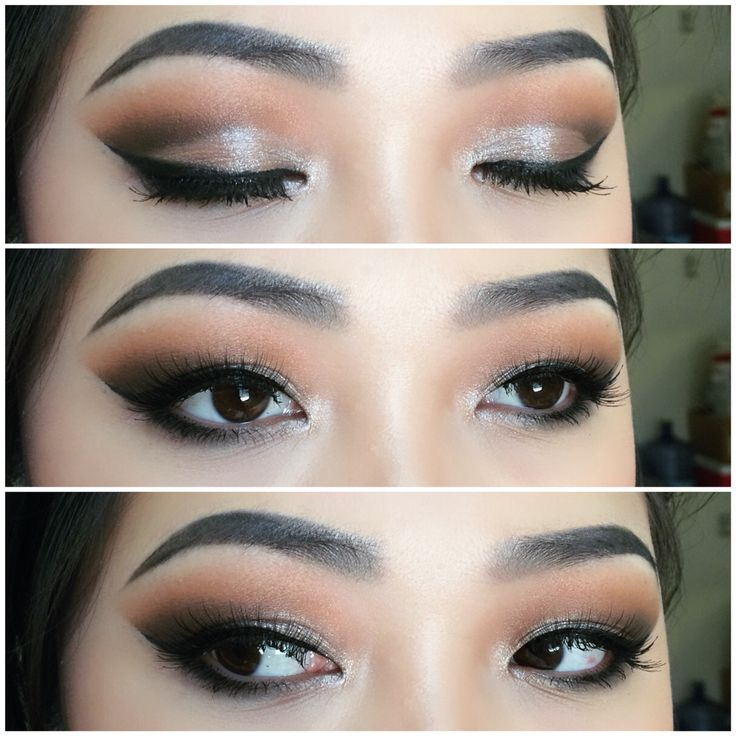 Makeup for Asian eyes. Extending your liner along with your eyeshadow will elongate your eyes.