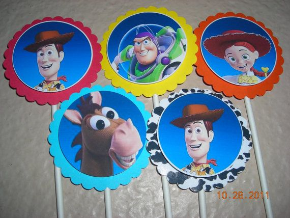 15 Toy Story Cupcake Toppers Personalized by JustTheCuteStuff, $10.95