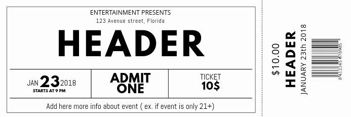 Concert Ticket Template Free New Black And White Free Concert Event Ticket Template Event Ticket Template Ticket Template Free Ticket Template