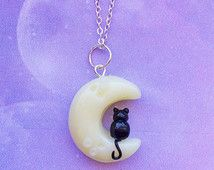 Pastel Goth Kawaii Kitty in the Moon Charm