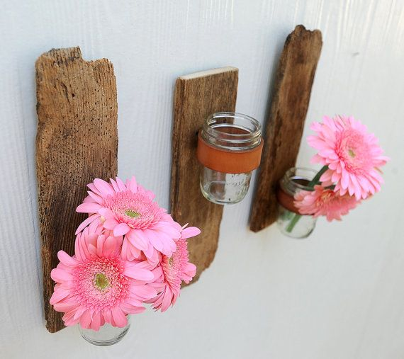love this!Nature Wood, Ideas, Reclaimed Wood, Wall Flower, Old Jars, Wall Sconces, Mason Jars, Barns Wood, Crafts