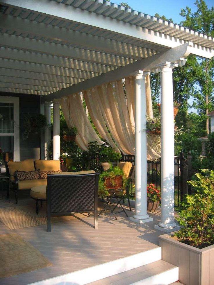 ides de pergola avec rideaux moderne dans le jardin