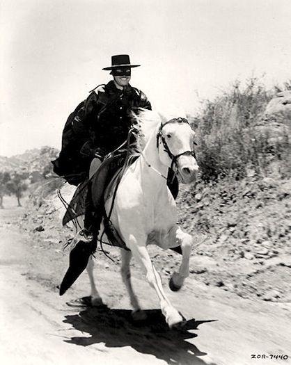 """Zorro tv series   Zorro"""" (1957) TV Series.    Zorro also had his white horse."""