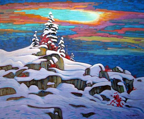 Crepuscular Mountain Experience painting by Nicholas Bott, Canadian Artist ☀