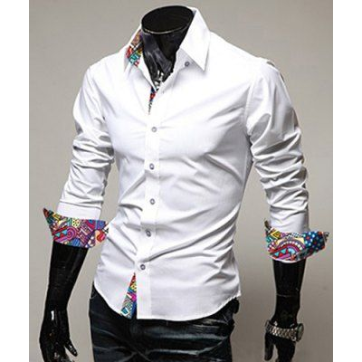 Turn-Down Collar Colorful Print Splicing Long Sleeve White Shirt For Men #CLICK! #clothing, #shoes, #jewelry, #women, #men, #hats, #watches
