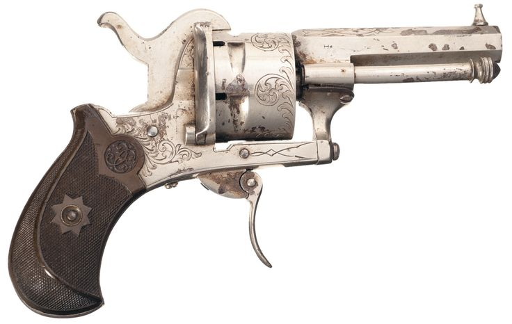 "A folding trigger pinfire revolver marked ""MARTINIER - COLLIN, ST. ETIENNE"", France, circa 1880's."