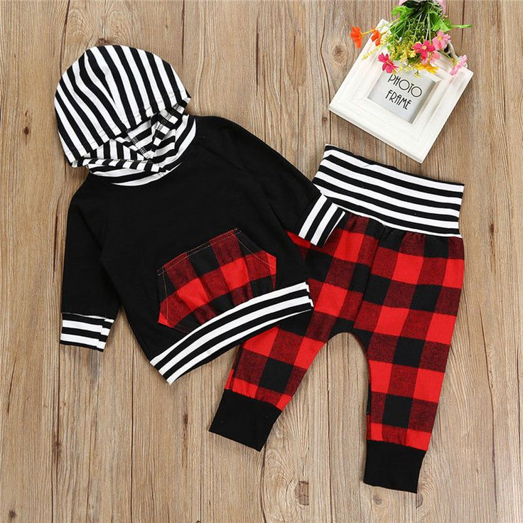 2017 Autumn Newborn Baby Boy Girl Clothing Long Sleeve Hooded T shirt Tops Red Plaid Pant. Click visit to buy #BabyGirlClothingSet #BabyGirl #ClothingSet