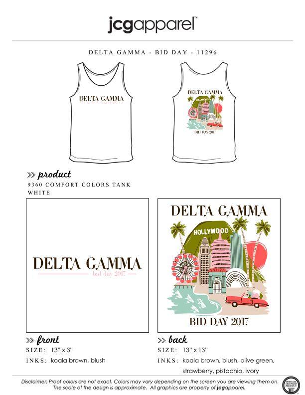 JCG Apparel : Custom Printed Apparel : Delta Gamma Bid Day T-Shirt #deltagamma #deegee #dg #hollywood #bidday #santamonica #thehills #la #beach #handdrawn