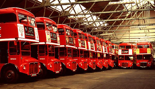 Buses at Mortlake garage in London. Many's the no 9 or no 33 bus I caught from here! Routemasters Print by John Topman