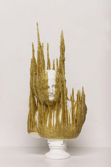 Nick van Woert  Plaster bust and polyurethane adhesive  34x78x12 cm  2009
