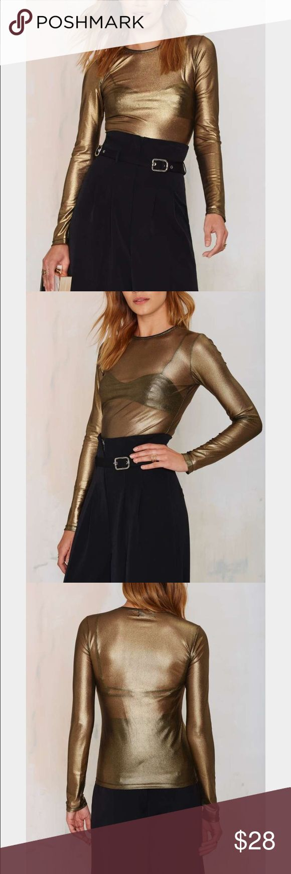 Nasty Gal Gold Long Sleeve Sheer Top Nasty Gal Gold Long Sleeve Sheer Top- never worn ! Nasty Gal Tops Tees - Long Sleeve