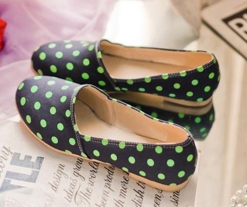 Womens Ladies Colored Chic Canvas Polka Dot Slip On Flat Shoes Plus Size 101 | eBay