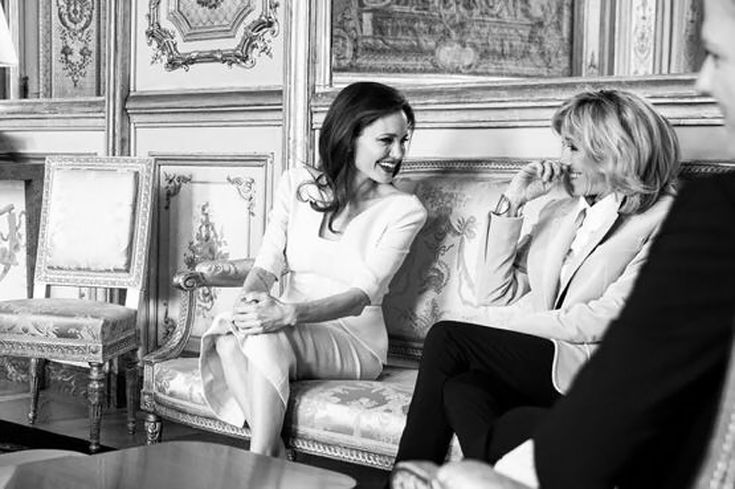 Exclusive Photos: Angelina Jolie Meets with French President Macron and First Lady After Visit to Louvre with Kids